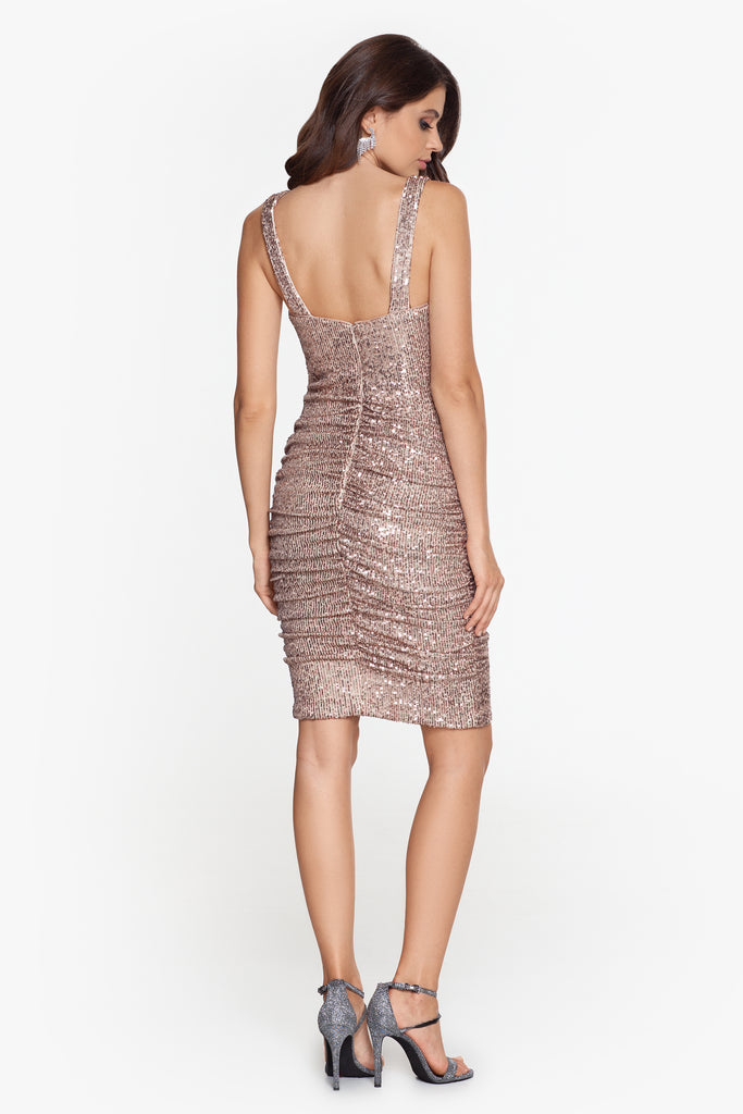 Piper Short Sequin Dress with Cross Ruch Detail