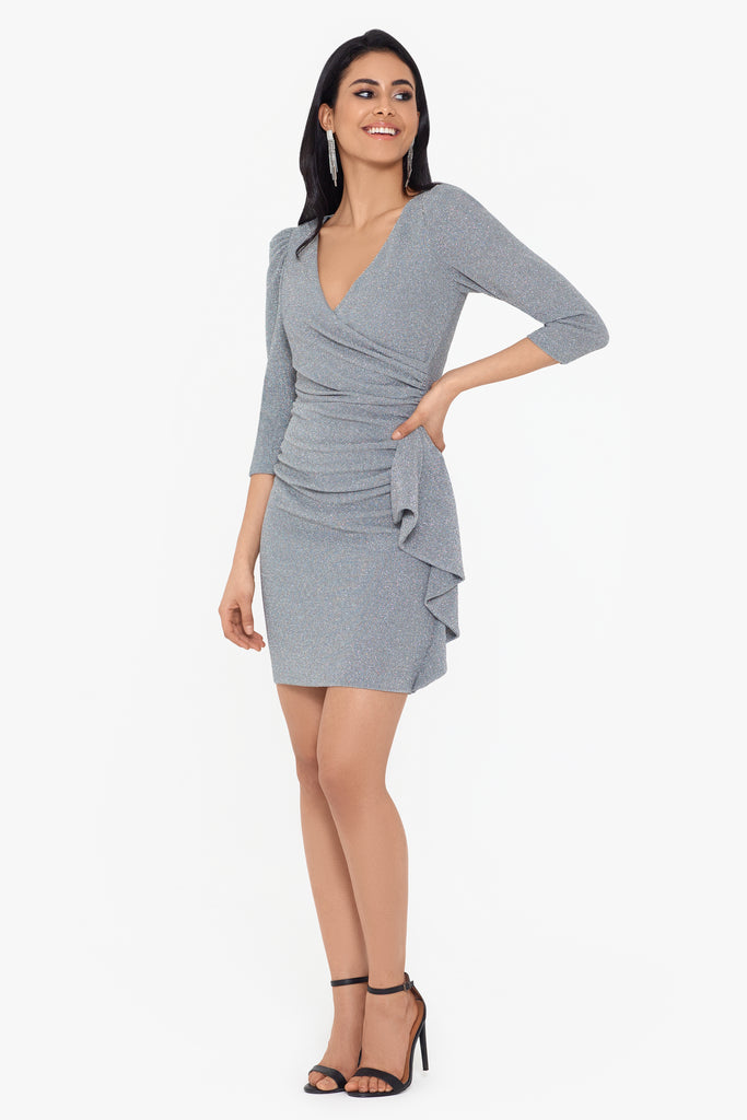 Marilyn Short Metallic 3/4 Puff Sleeve Dress