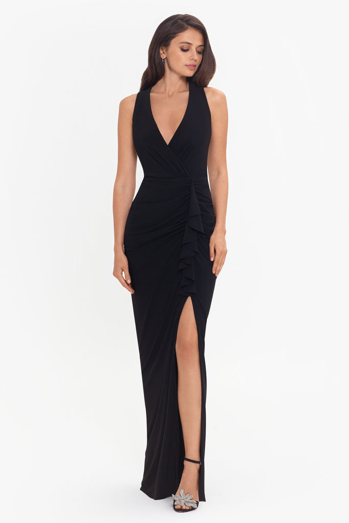 Bobby Long V-Wrap ITY Rouched Dress