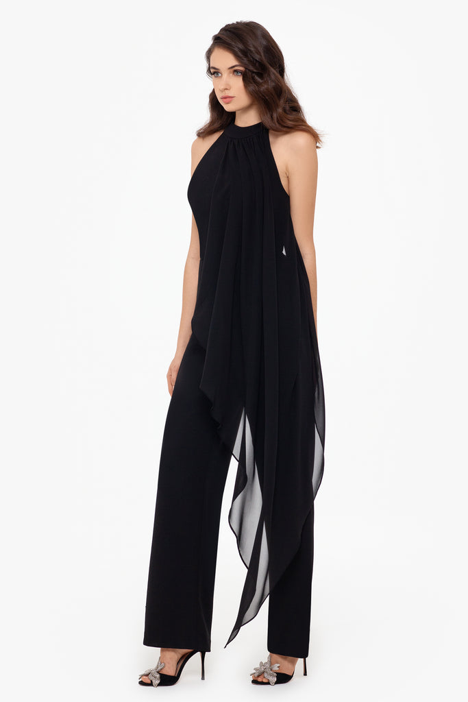 LeeAnne Mock Neck Jumpsuit with Chiffon Overlay