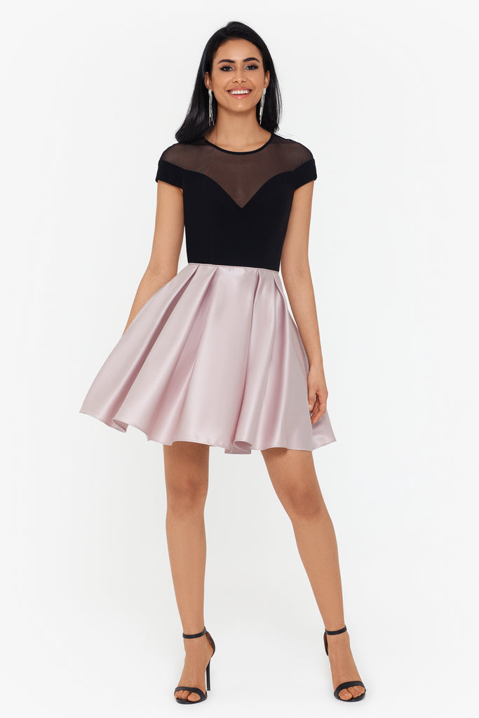 Marisol Short Party Dress with Illusion Neckline