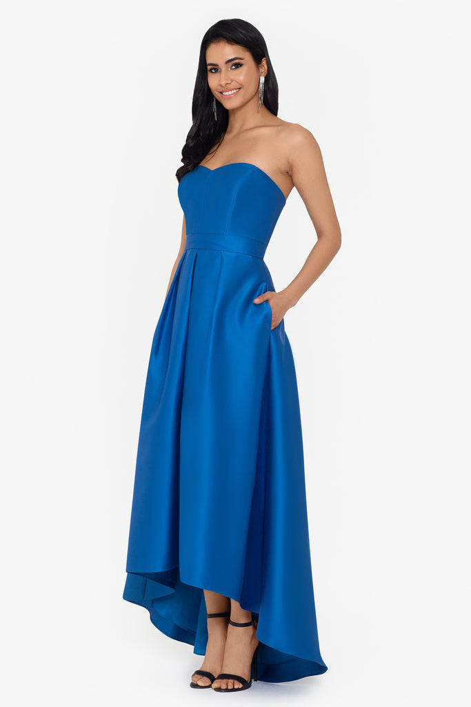 Victoria Strapless Satin High Low Ballgown