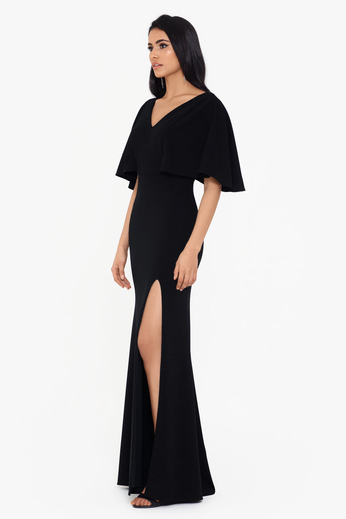 Caroline Long Scuba Crepe Kimono Sleeve Dress