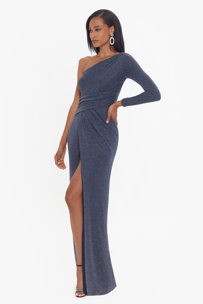 Daphne Long One Shoulder Metallic Knit