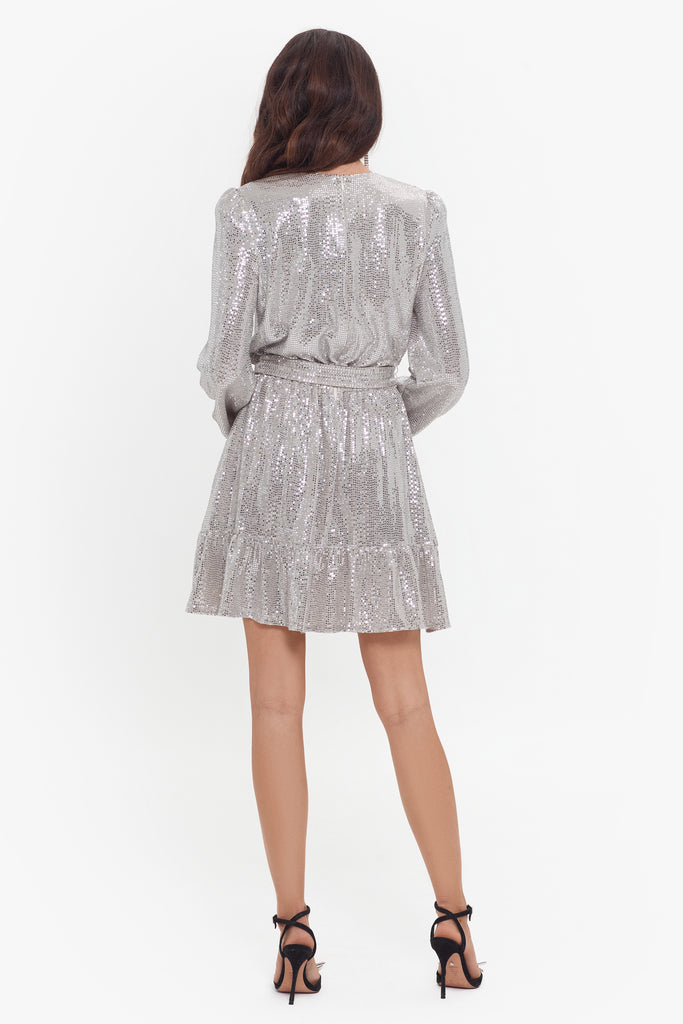 Honey Short Long Sleeve Hologram Knit Tie Waist Dress