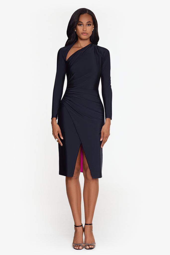 Kinsley Long Sleeve Recycled Knit  Wrap Dress with A-Line Neckline