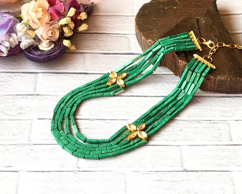 Green German Silver Necklace Set