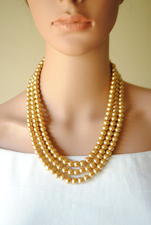 Open image in slideshow, Triple Layered Pearl Necklace