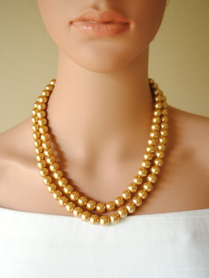 Open image in slideshow, Double Layered Pearl Necklace