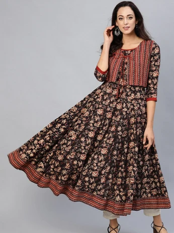 Women Kurtis Coffee Brown & Maroon Printed Anarkali Kurta with Ethnic Jacket