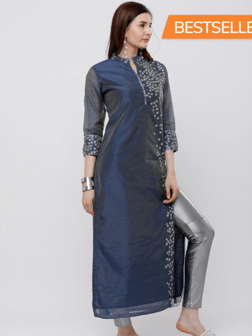 Women kurtis Blue & Silver-Toned Printed Straight Kurta