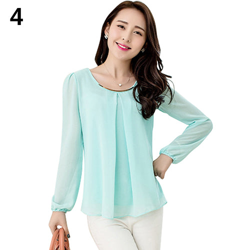 MilkySkinForever Women's Fashion Round Neck Long Sleeve Chiffon Skirt Loose Cool Top Blouse