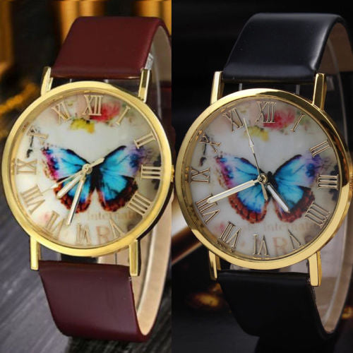 MilkySkinForever Women Butterfly Dial Faux Leather Roman Numerals Quartz Analog Dress Wrist Watch