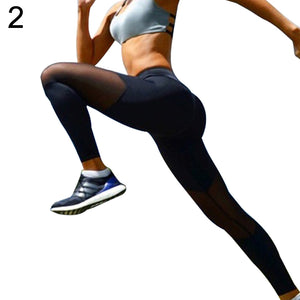 MilkySkinForever Women Fitness Running Yoga Sport See Through Leggings Exercise Pants Trousers