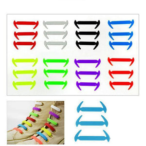 MilkySkinForever 12Pcs Unisex Tieless Silicone Easy No Tie Shoelaces Jogger Elastic Shoe Laces