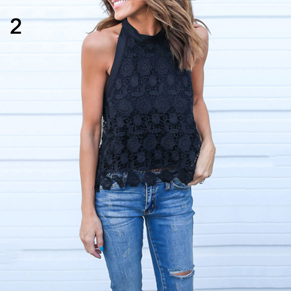 Women Summer Lace Flower Sleeveless Backless Bowknot Solid Color Sexy Tank Top