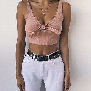 MilkySkinForever Fashion Sexy Solid Color Bowknot Crop Top Women Summer Deep-V Sleeveless T-Shirt