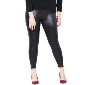 MilkySkinForever Women's Stylish Black Faux Leather Plus Size Skinny Strechy Pants Leggings