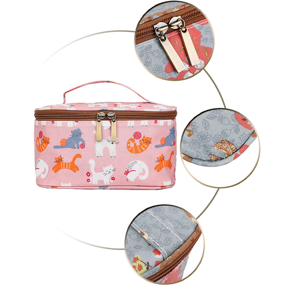 MilkySkinForever Portable Flower Cartoon Cat Cosmetic Storage Case Toiletry Makeup Organizer Bag