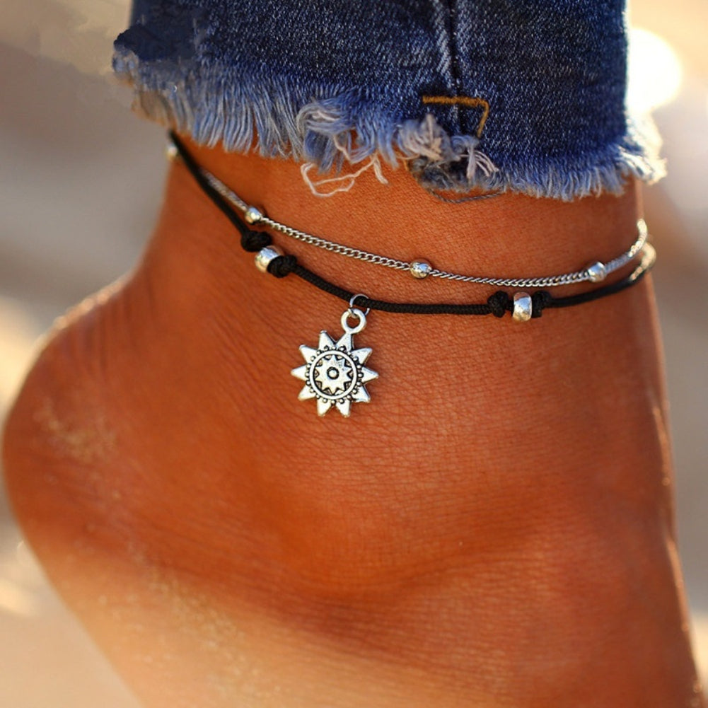 Boho Double Layer Anklet Sun Pendent Charm Women Foot Chain Ankle Bracelet