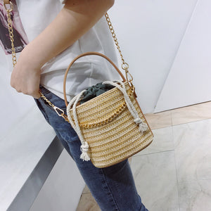 MilkySkinForever Fashion Long Chain Weaving Drawstring Shoulder Bag Travel Handbag Buckle Pouch