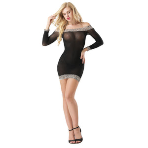Lady Transparent See-through Off Shoulder Leopard Print Bodycon Dress Sleepwear
