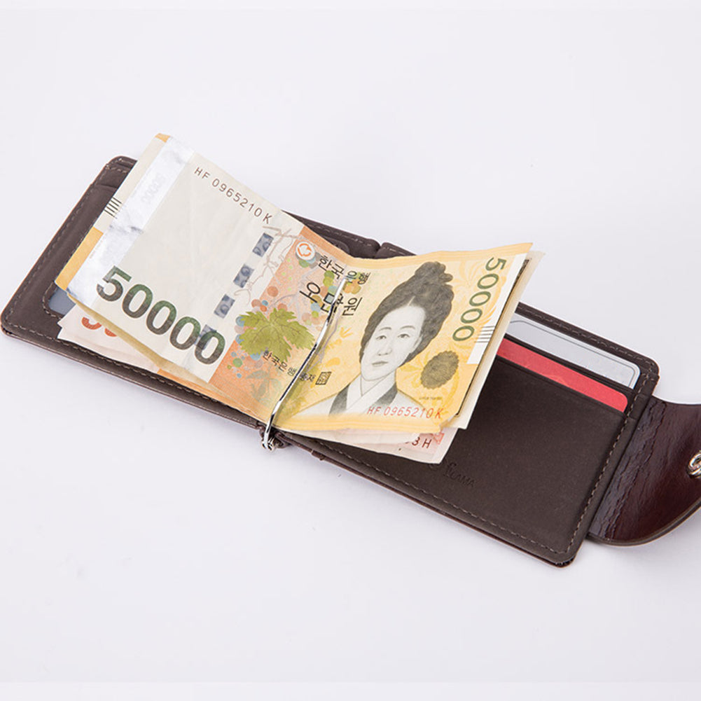 MilkySkinForever Men Slim Bifold Faux Leather Money Clip Credit Card Holder Snap Fastener Wallet