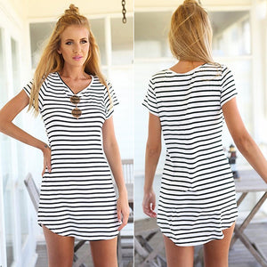 MilkySkinForever Women Fashion Summer Striped Asymmetrical Short Sleeve Vestido Dovetail Dress