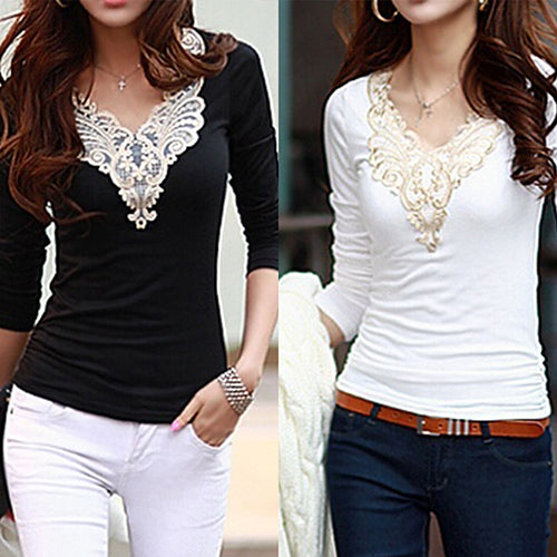 MilkySkinForever Women's Embroidery Lace Decoration Tops V Neck Long Sleeves Slim Cotton T-Shirt