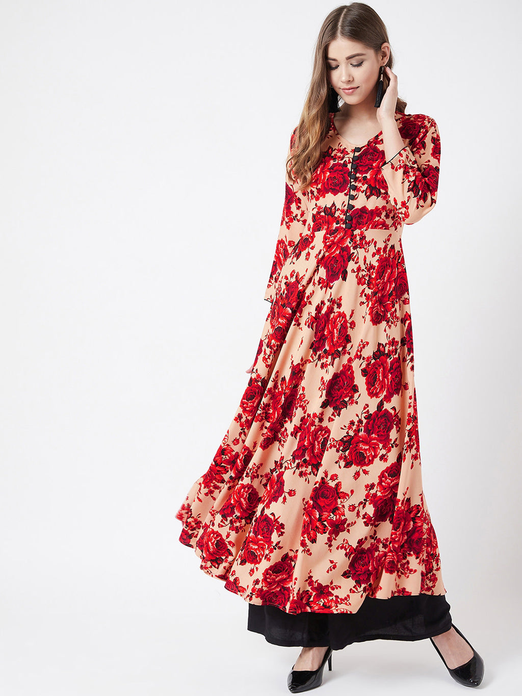 Women Beige & Red Floral Printed A-Line Kurta
