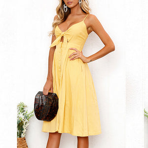 MilkySkinForever Women Summer Sexy Bowknot Buttons Spaghetti Strap V Neck Backless Party Dress