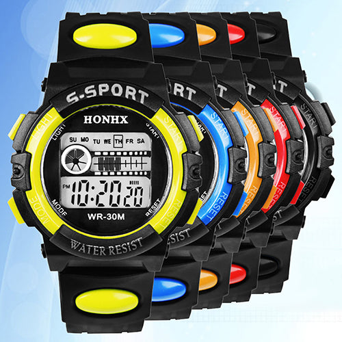 MilkySkinForever Men Sports Waterproof Big Round Case Alarm Digital Wristwatch Electronic Watch