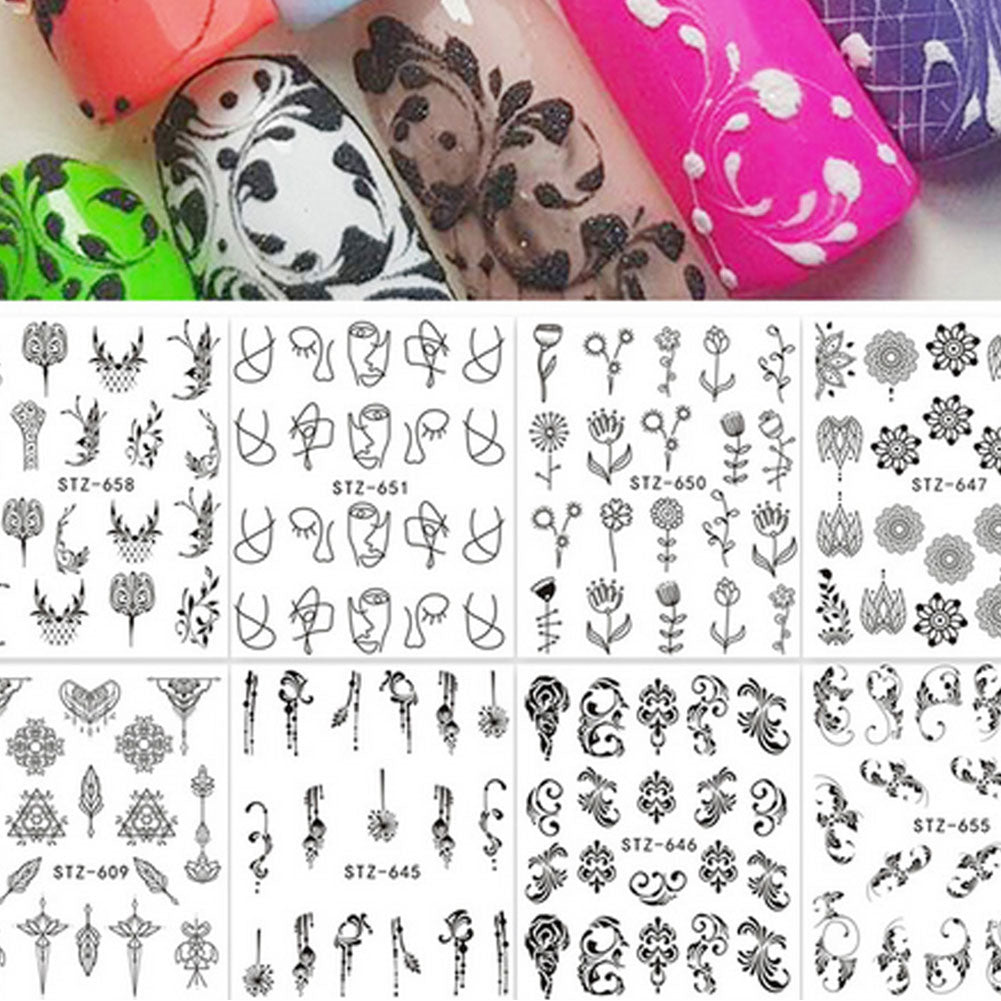 MilkySkinForever Floral Feather Simple Drawing Women Nail Sticker Decal Beauty DIY Manicure Tools