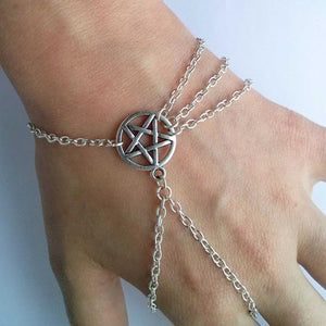 Women Fahsion Wiccan Slave Pentagram Pentacle Decorated Chain Bracelet Jewelry