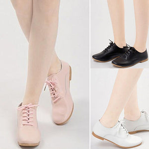 MilkySkinForever Girl Round Toe Flat Faux Leather Pure Color Lace-Up Low Cut Loafers Casual Shoes