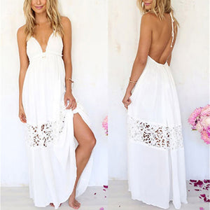 MilkySkinForever Women Sexy Long Maxi Lace Cocktail Evening Summer Beach Backless Ball Gown Dress