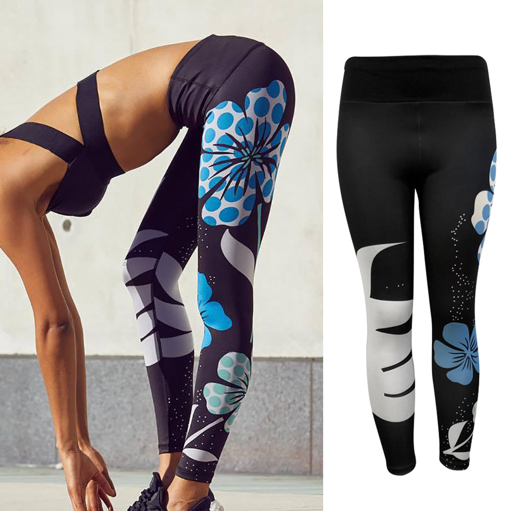MilkySkinForever Fashion Lotus Print High Waist Women Sports Trousers Yoga Leggings Skinny Pants