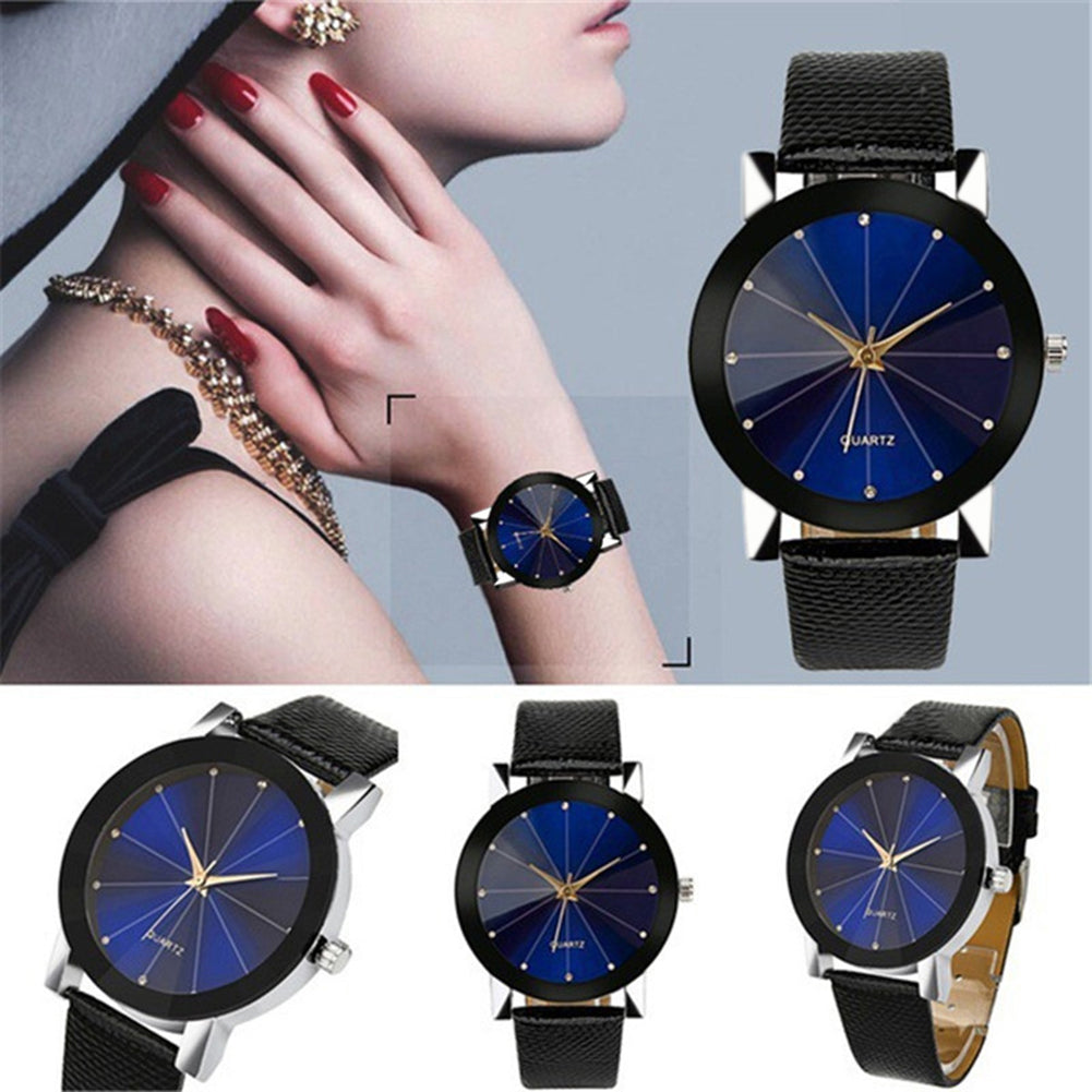 Minimalism Men Women Round Dial Rhinestone Quartz Faux Leather Band Wrist Watch