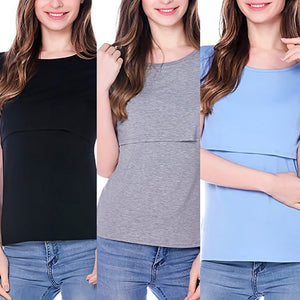 MilkySkinForever Women Summer Solid Cotton Maternity Nursing Breastfeeding T-shirt Top Clothes