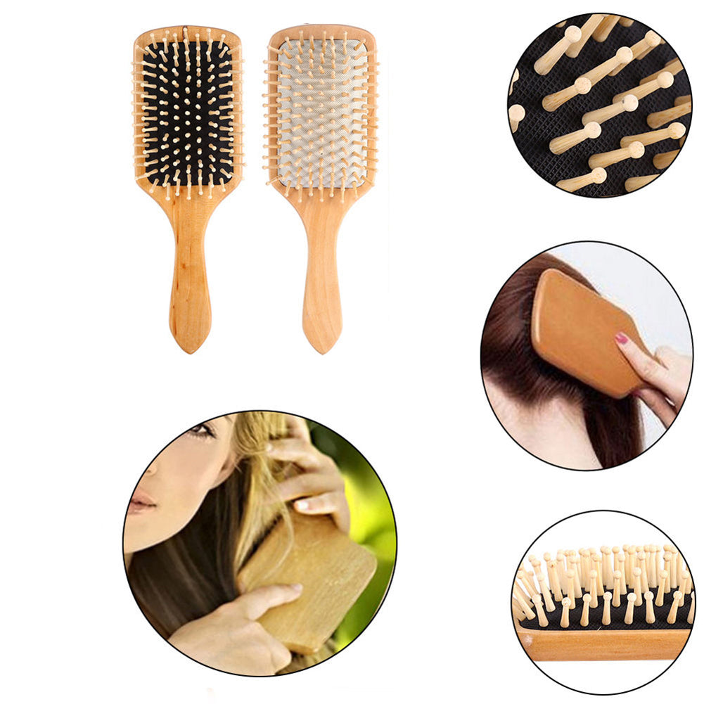 MilkySkinForever Wooden Hair Vent Paddle Brush Hair Keratin Care Spa Massage Antistatic Comb