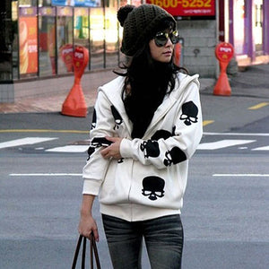 MilkySkinForever Women's Skull Zipper Sweater Hooded Cardigan Casual Hoodies Jacket Coat Tops
