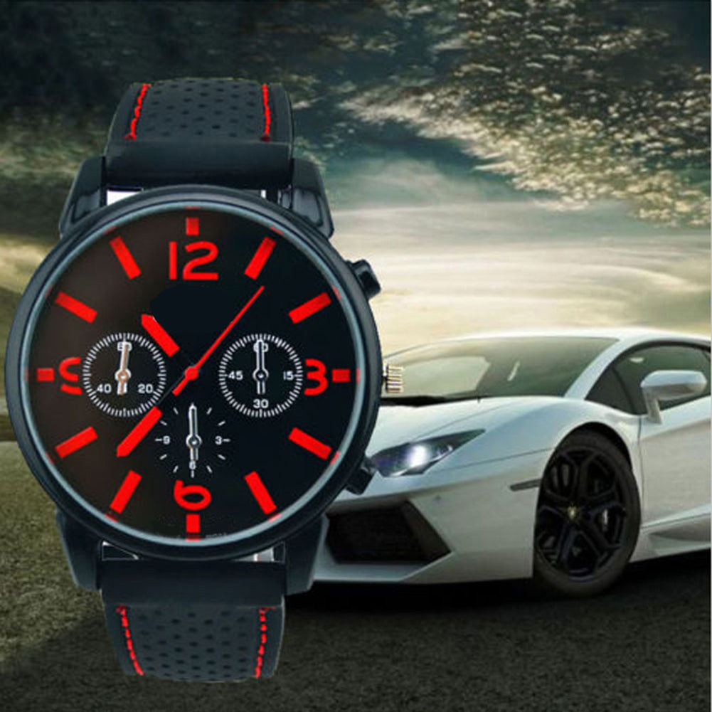 Sport Men's Fashion Silicone Band Decorative Dail Analog Quartz Wrist Watch
