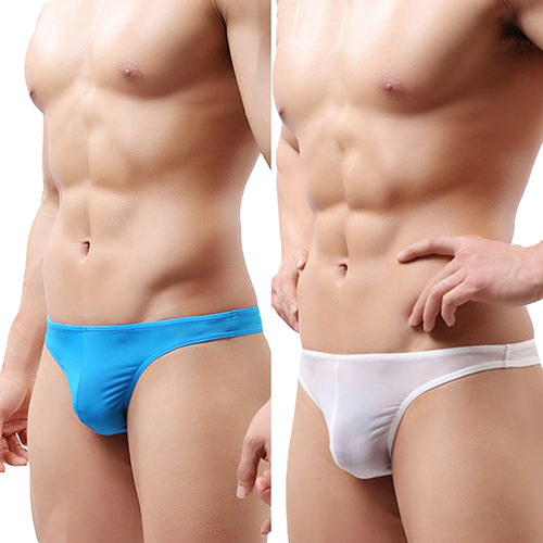 MilkySkinForever Men's Sexy Thongs Briefs Solid Color Underwear Bulge Pouch Soft Underpants