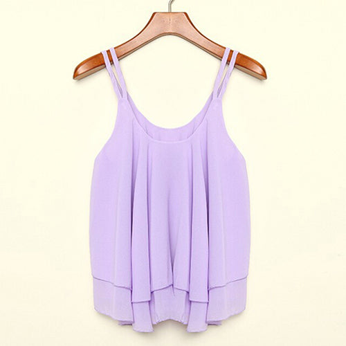 MilkySkinForever Girl Sexy Chiffon Strap Shirts Camisole Sleeveless Summer Blouses Crop Tank Tops
