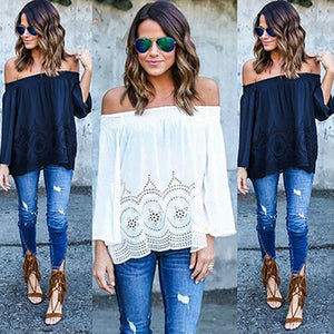 Women's Fashion Sexy Off the Shoulder Strapless Long Sleeve Chiffon Blouse Top