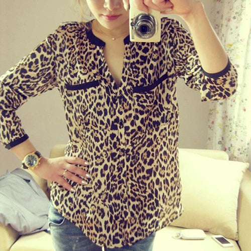 MilkySkinForever Women Leopard Print Long Sleeve Chiffon Loose Shirt Pockets Button Down Top