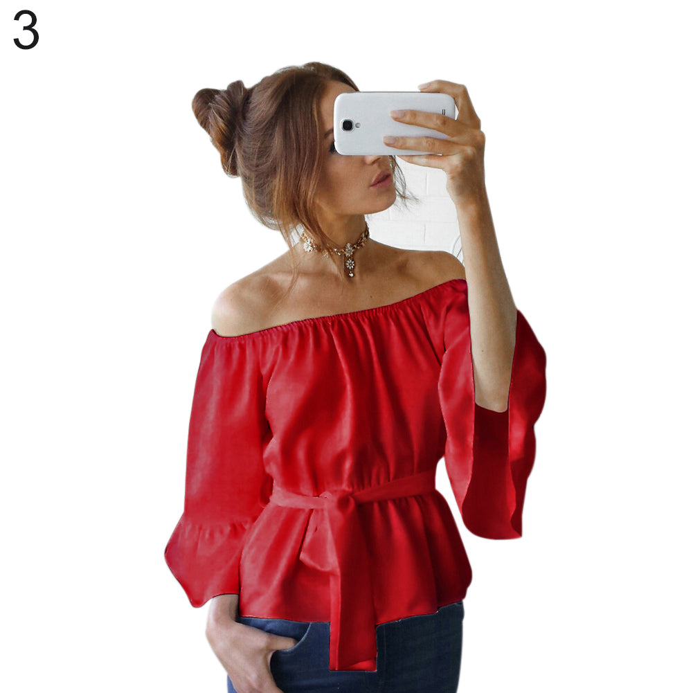 MilkySkinForever Fashion Women Summer Chiffon Off Shoulder Beach Party Top Solid Color Blouse