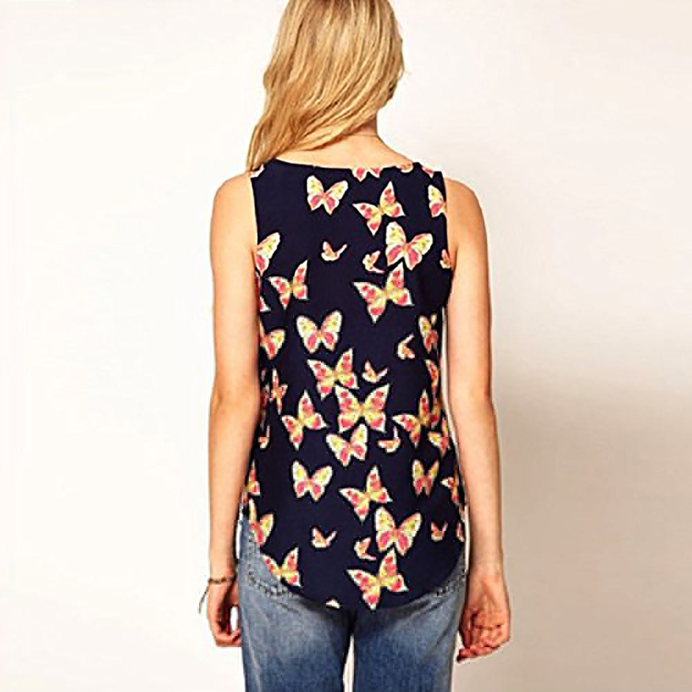 MilkySkinForever Women's Butterfly Print Chiffon Blouse Sleeveless T-Shirt Tank Top Crew Vest