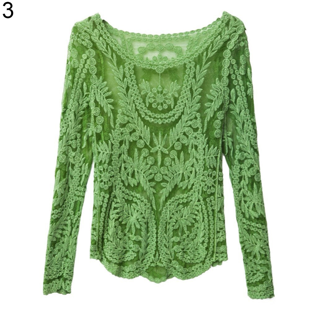 MilkySkinForever Women Sexy Lace Crochet Long Sleeve See-through Blouse Pullover Tops Outwear
