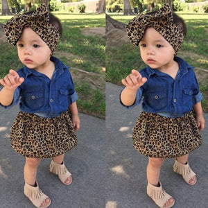 MilkySkinForever Toddler Kid Girl Lovely Denim Shirt + Leopard Print Skirt + Headband Outfit Set